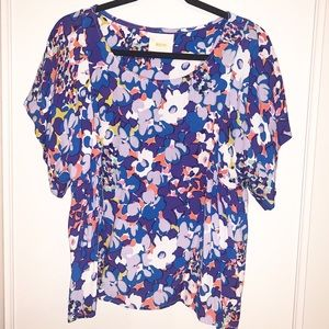 Maeve Floral Watercolor Short Sleeve Blouse